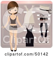 Paper Doll In Underwear With Beige And Black Accessories And Dresses