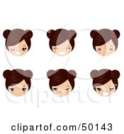 Royalty Free RF Clipart Illustration Of A Digital Collage Of Brunette Avatar Faces by Melisende Vector