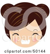 Royalty Free RF Clipart Illustration Of A Brunette Avatar Face Gritting Her Teeth by Melisende Vector