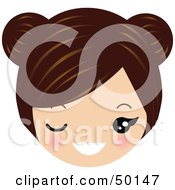 Royalty Free RF Clipart Illustration Of A Brunette Avatar Face Winking