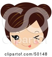 Royalty Free RF Clipart Illustration Of A Brunette Avatar Face Teasing by Melisende Vector