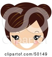 Royalty Free RF Clipart Illustration Of A Brunette Avatar Face Grinning by Melisende Vector