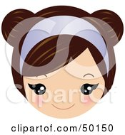 Royalty Free RF Clipart Illustration Of A Brunette Girls Face Wearing A Purple Headband by Melisende Vector