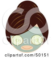 Royalty Free RF Clipart Illustration Of A Brunette Girls Face Wearing A Cucumber Facial Mask