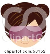 Royalty Free RF Clipart Illustration Of A Brunette Girls Face Wearing A Purple Eye Cover