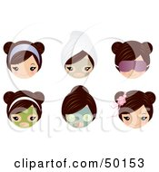Royalty Free RF Clipart Illustration Of A Digital Collage Of A Brunette Girls Face With Spa Treatments And Accessories by Melisende Vector