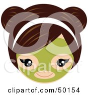 Royalty Free RF Clipart Illustration Of A Brunette Girls Face Wearing A Green Facial Mask