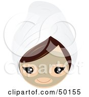 Royalty Free RF Clipart Illustration Of A Brunette Girls Face Wearing A Clay Mask And A Head Towel
