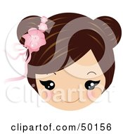 Royalty Free RF Clipart Illustration Of A Brunette Girls Face Wearing A Floral Hair Accessory