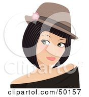 Royalty Free RF Clipart Illustration Of A Pretty Young Lady Wearing A Hat And Looking Left