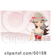 Royalty Free RF Clipart Illustration Of A Brunette Wearing A Hat And Walking In A Pink Landscape