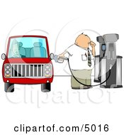 Fuel Attendant Pumping Unleaded Gas Into A Womans Car Clipart