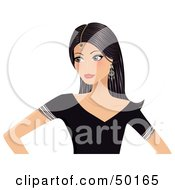 Royalty Free RF Clipart Illustration Of A Indian Beauty Woman In A Black Shirt Wearing Her Hair Down With A Bindi On Her Forehead