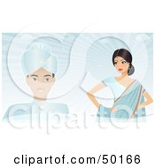 Royalty Free RF Clipart Illustration Of An Indian Groom And Bride Against A Blue Background