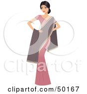 Royalty Free RF Clipart Illustration Of A Graceful Indian Actress In A Pink Dress And Purple Shawl