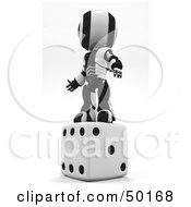 Royalty Free RF Clipart Illustration Of A 3d Black And White Ao Maru Robot Standing On Dice by Leo Blanchette