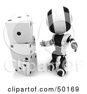 Royalty Free RF Clipart Illustration Of A 3d Black And White Ao Maru Robot With A Stack Of Dice by Leo Blanchette