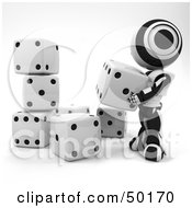 Royalty Free RF Clipart Illustration Of A 3d Black And White Ao Maru Robot Stacking Dice by Leo Blanchette