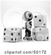Royalty Free RF Clipart Illustration Of A 3d Black And White Ao Maru Robot Standing With Giant Dice by Leo Blanchette