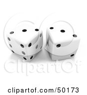 Royalty Free RF Clipart Illustration Of White 3d Dice With Doubles On Threes by Leo Blanchette