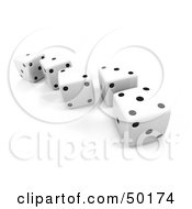 Line Of White 3d Dice With Black Dots