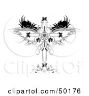 Ornamental Cross With Wings And Floral Designs