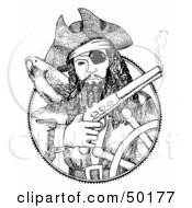 Royalty-Free (RF) Clipart Illustration of a Black And White Medallion Of A Pirate Steering A Ship, Holding A Pistil by C Charley-Franzwa #COLLC50177-0078