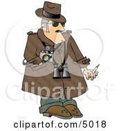 Humorous Private Eye Detective Clipart Image