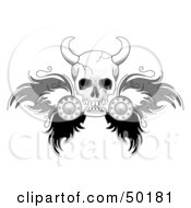 Royalty Free RF Clipart Illustration Of A Viking Skull With Feathered Wings by C Charley-Franzwa