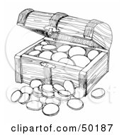 Royalty Free RF Clipart Illustration Of A Wooden Treasure Chest With Coins