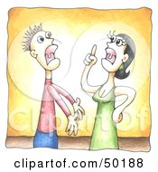 Royalty-Free (RF) Clipart Illustration of a Married Couple Engaged In A Shouting Match by C Charley-Franzwa #COLLC50188-0078