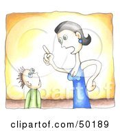 Royalty Free RF Clipart Illustration Of A Mother Lecturing Her Son by C Charley-Franzwa