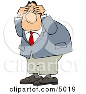 Puzzled Man Wearing A Business Suit Clipart