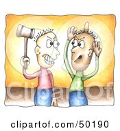 Royalty Free RF Clipart Illustration Of A Man Bonking Another On The Head With A Hammer During A Conflict by C Charley-Franzwa