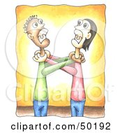 Royalty Free RF Clipart Illustration Of Two Grown Men Angrily Grabbing Eachothers Throats by C Charley-Franzwa