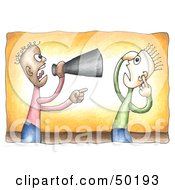 Royalty Free RF Clipart Illustration Of A Black Businessman Shouting Through A Megaphone At An Employee by C Charley-Franzwa