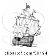Royalty Free RF Clipart Illustration Of A Tall Pirate Ship At Sea With The Sails Open