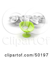 Royalty Free RF Clipart Illustration Of An Outstanding Green Chair In Front Of A Group Of White Chairs