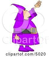 Man Wearing A Purple Wizard Costume On Halloween Clipart