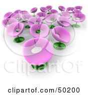Royalty Free RF Clipart Illustration Of A Group Of Pink And Green Flower Chairs
