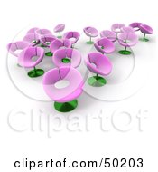 Royalty Free RF Clipart Illustration Of Pink Flower Chairs