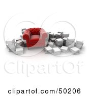Royalty Free RF Clipart Illustration Of A Cushiony Red Armchair Surrounded By Stacks Of Books