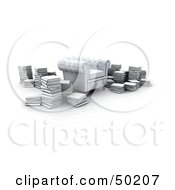 Royalty Free RF Clipart Illustration Of A Cushiony White Armchair Surrounded By Stacks Of Books