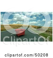 Royalty Free RF Clipart Illustration Of A Red Leather Armchair In The Middle Of A Deserted Road