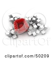 Royalty Free RF Clipart Illustration Of An Aerial View Of A Red Chair Surrounded By Stacks Of White Books by Frank Boston