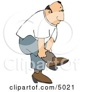 Country Man Putting On His Cowboy Boots Clipart by djart