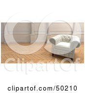 Royalty Free RF Clipart Illustration Of A White Armchair In A Room With Wooden Floors by Frank Boston