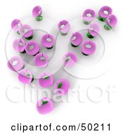 Royalty Free RF Clipart Illustration Of An Aerial View Of Scattered Pink Flower Chairs