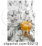 Royalty Free RF Clipart Illustration Of A Yellow Armchair On A Glass Floor With A Cubic Wall by Frank Boston