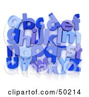 Royalty Free RF 3D Clipart Illustration Of Blue Alphabet Letters Organized In Rows